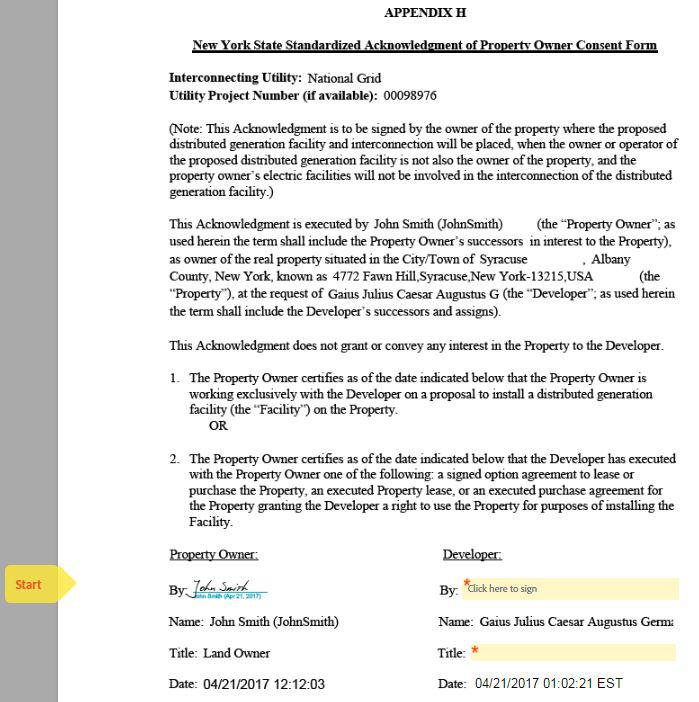 How To Submit Ny Appendix H Land Owner Consent E Signature